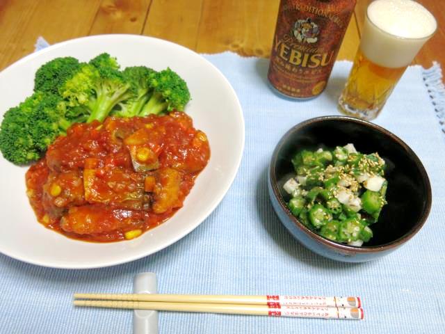 鯖のトマトソース 晩ご飯