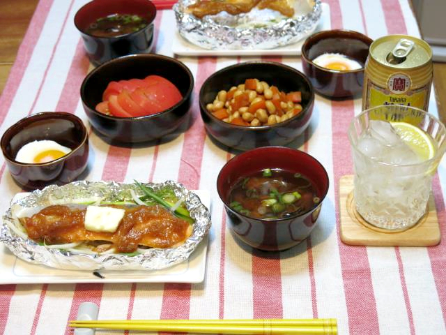 晩ご飯 鮭ホイル焼き