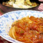 「カニのトマトソースパスタ」と、スキレットで作る「エリンギとベーコンのカマンベールチーズ焼き」