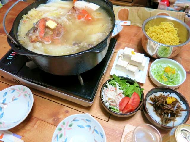 晩ご飯 酒かす 石狩鍋